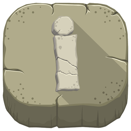 Vector icon with a stone letter I with cracks