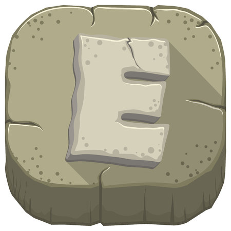 Vector icon with a stone letter E with cracks Illustration