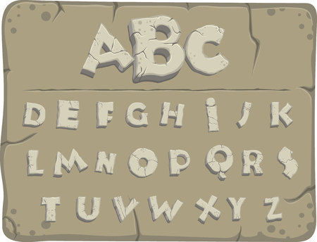 Letters from the Stone Age with cracks, vector font Zdjęcie Seryjne - 110344473