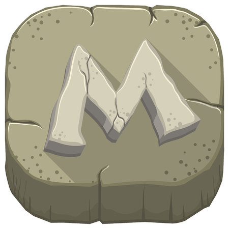Vector icon with a stone letter M with cracks Illustration