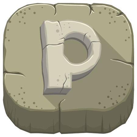 Vector icon with a stone letter P with cracks Illustration