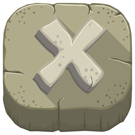 Vector icon with a stone letter X with cracks Illustration