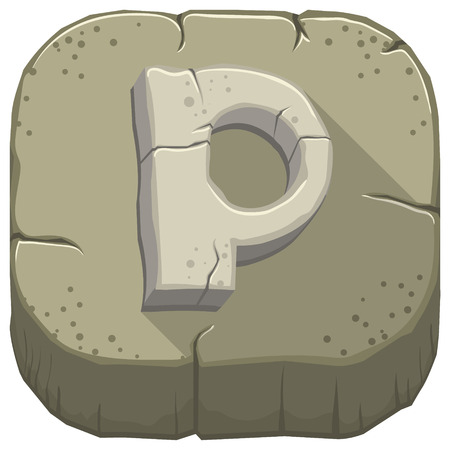 Vector icon with a stone letter P with cracks Stock Photo
