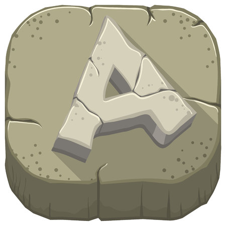 Vector icon with a stone letter A with cracks