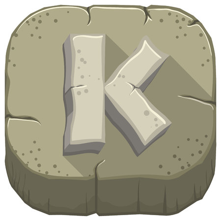 Vector icon with a stone letter K with cracks