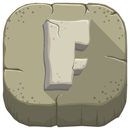Vector icon with a stone letter F with cracks