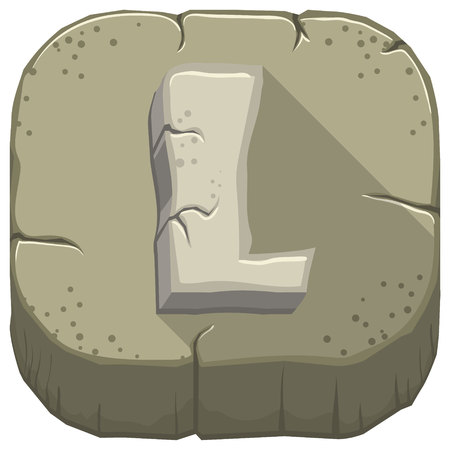 Vector icon with a stone letter L with cracks Illustration