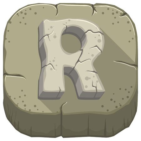 Vector icon with a stone letter R with cracks Illustration