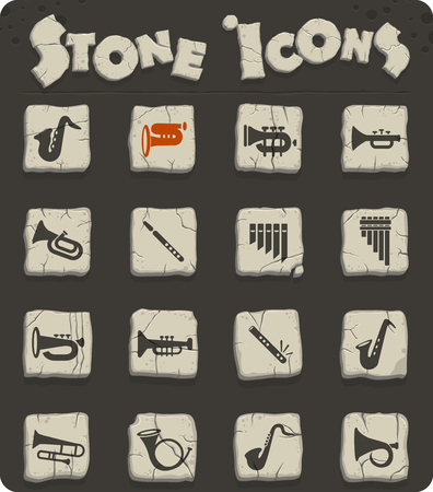 wind instruments web icons for user interface design Illustration