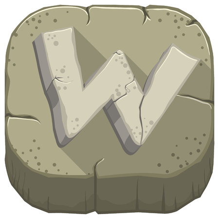 Vector icon with a stone letter W with cracks