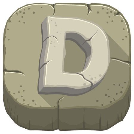 Vector icon with a stone letter D with cracks Illustration