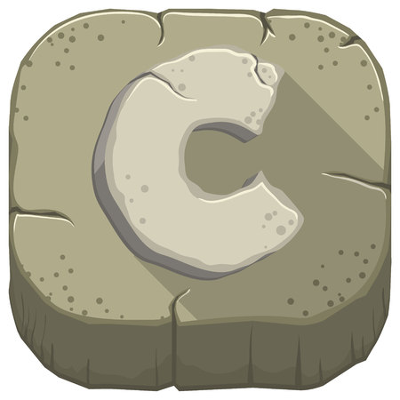 Vector icon with a stone letter C with cracks