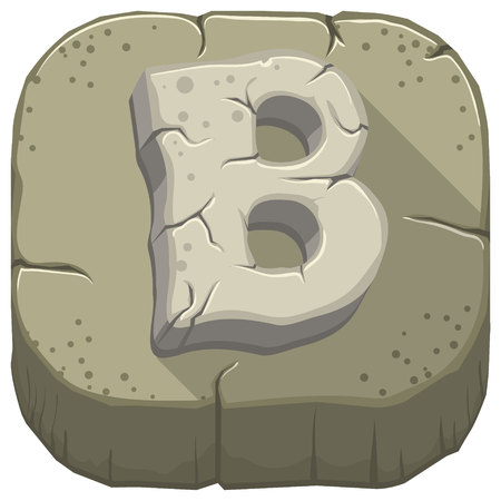 Vector icon with a stone letter B with cracks