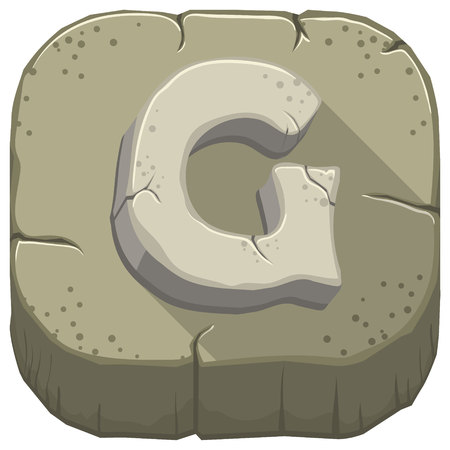 Vector icon with a stone letter G with cracks Illustration