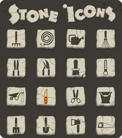 garden tools vector icons for web and user interface design