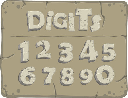 Stylized digits from the stone age with cracks, vector font