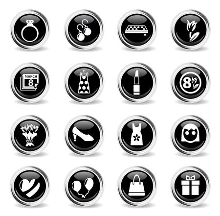 8 march web icons - black round chrome buttons Çizim