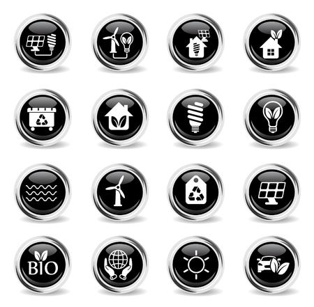 alternative energy vector icons - black round chrome buttons