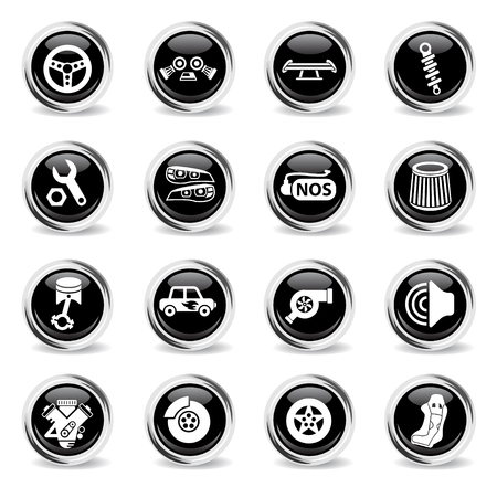 auto tuning web icons - black round chrome buttons Stock Vector - 110096564
