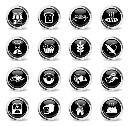 bakery web icons - black round chrome buttons