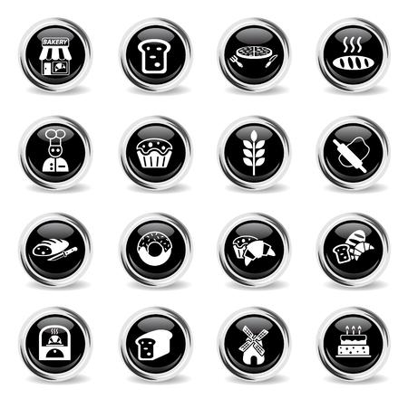 Icônes Web de boulangerie - boutons chromés ronds noirs Vecteurs