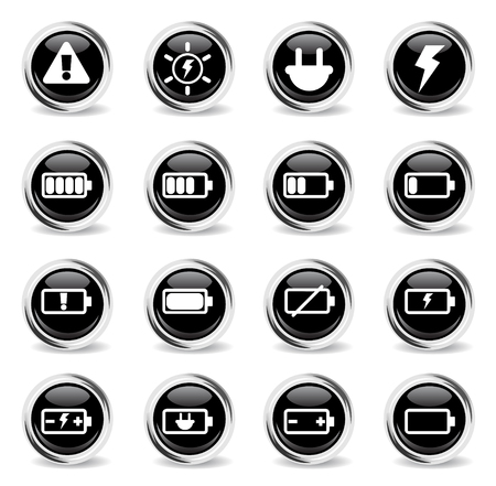 battery vector icons - black round chrome buttons