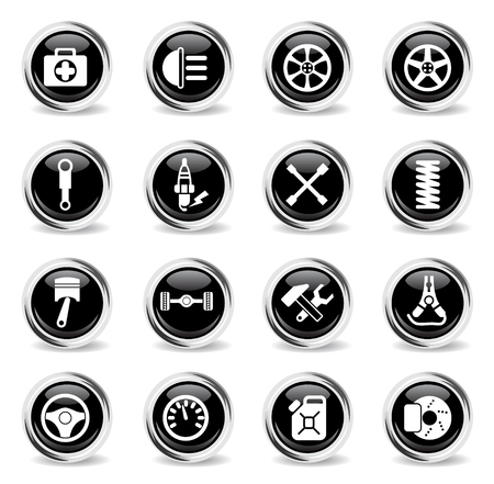 car shop vector icons - black round chrome buttons