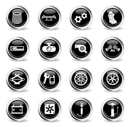 Iconos de vector de tienda de coches - botones cromados redondos negros Ilustración de vector