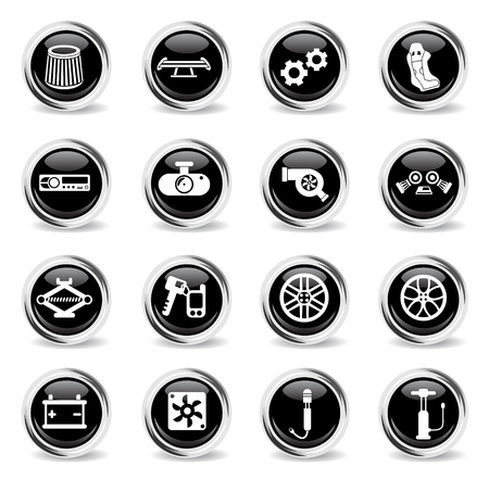 car shop vector icons - black round chrome buttons