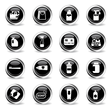 chemicals store vector icons - black round chrome buttons Illustration