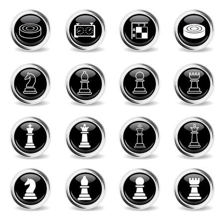 Icônes web d'échecs - boutons chromés ronds noirs Vecteurs