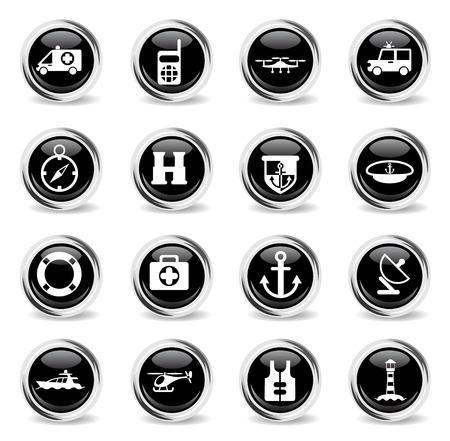 iconos de vector de timón - botones redondos negros redondos