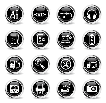 electronics repair web icons - black round chrome buttons
