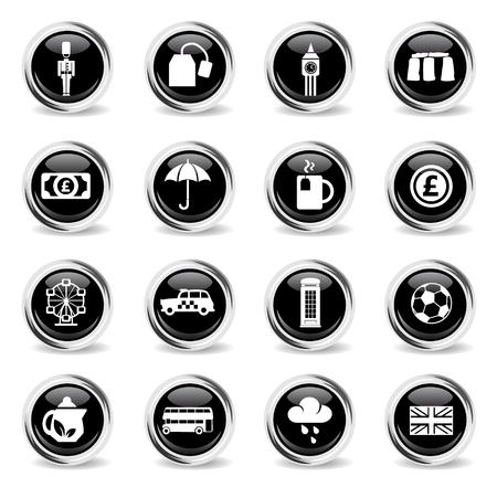 england web icons - black round chrome buttons Illustration