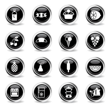 food and kitchen vector icons - black round chrome buttons Illustration