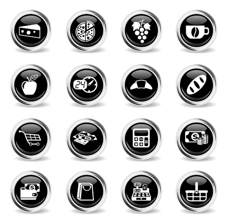grocery store vector icons - black round chrome buttons