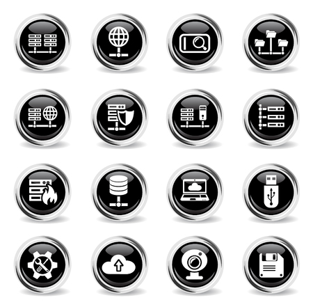 hosting provider web icons - black round chrome buttons 矢量图像