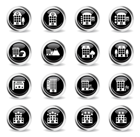 hotel vector icons - black round chrome buttons