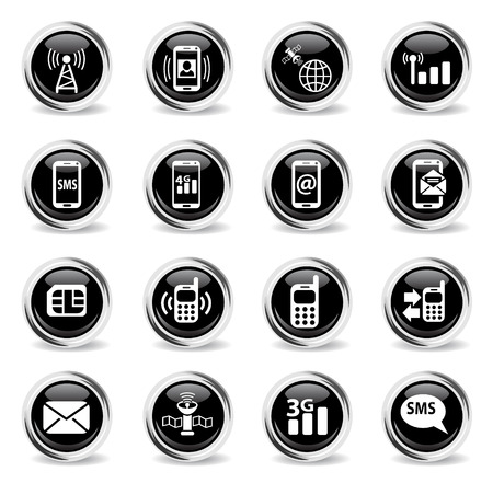 mobile connection web icons - black round chrome buttons