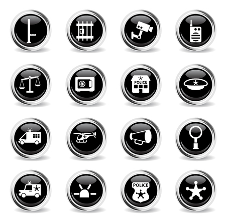 police department vector icons - black round chrome buttons
