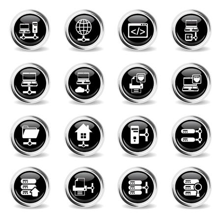 server vector icons - black round chrome buttons Illustration