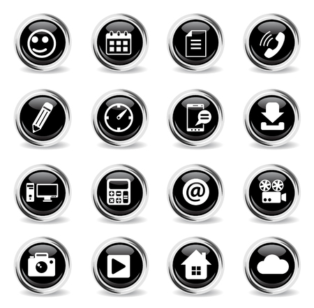 social media vector icons - black round chrome buttons