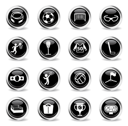sport vector icons - black round chrome buttons