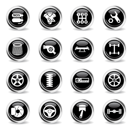 auto tuning vector icons - black round chrome buttons Stock Vector - 108069674