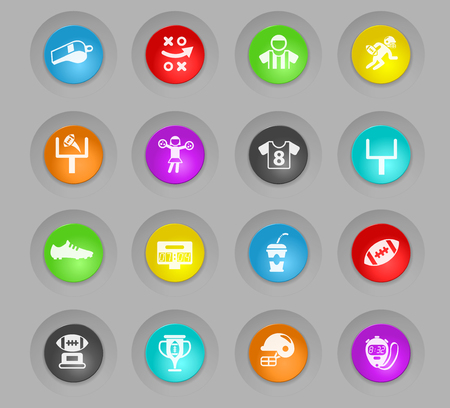 american football vector colored plastic round buttons icons for web and user interface design