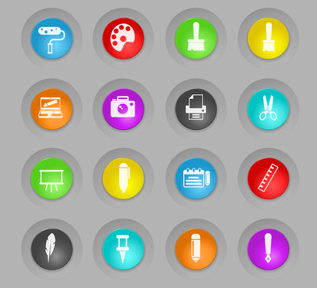 Graphic editor tools colored plastic round buttons icons for web and user interface design