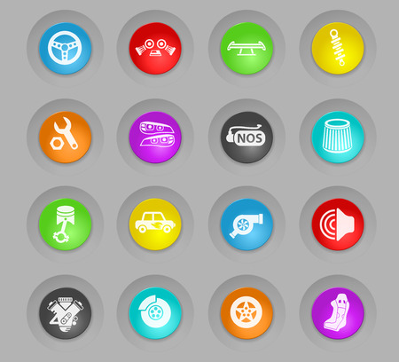 auto tuning colored plastic round buttons web icons for user interface design