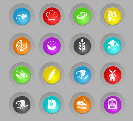 bakery colored plastic round buttons web icons for user interface design