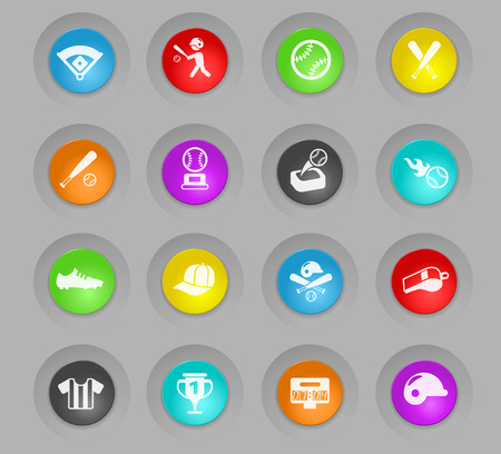 baseball colored plastic round buttons vector icons for web and user interface design Illusztráció