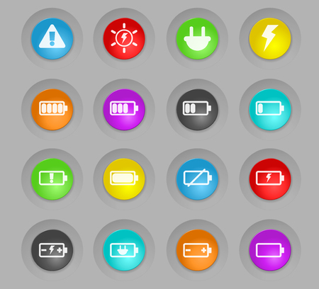 battery colored plastic round buttons vector icons for web and user interface design